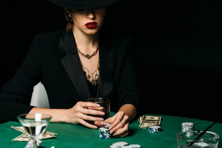 Attract Woman Hat Casino Chips Red Lips