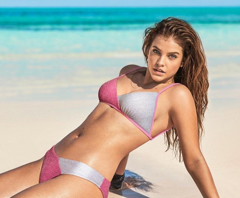 Rocking a bicolor bikini, Barbara Palvin appears in Calzedonia summer Swim 2019 campaign