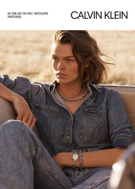 Wearing denim, Cara Taylor fronts Calvin Klein Jewelry + Watches spring-summer 2019 campaign