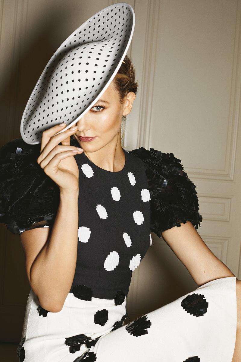 Karlie Kloss sports polka dots in Carolina Herrera Good Girl Dot Drama fragrance campaign