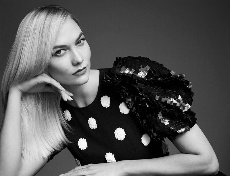 Model Karlie Kloss is the face of Carolina Herrera Good Girl Dot Drama fragrance