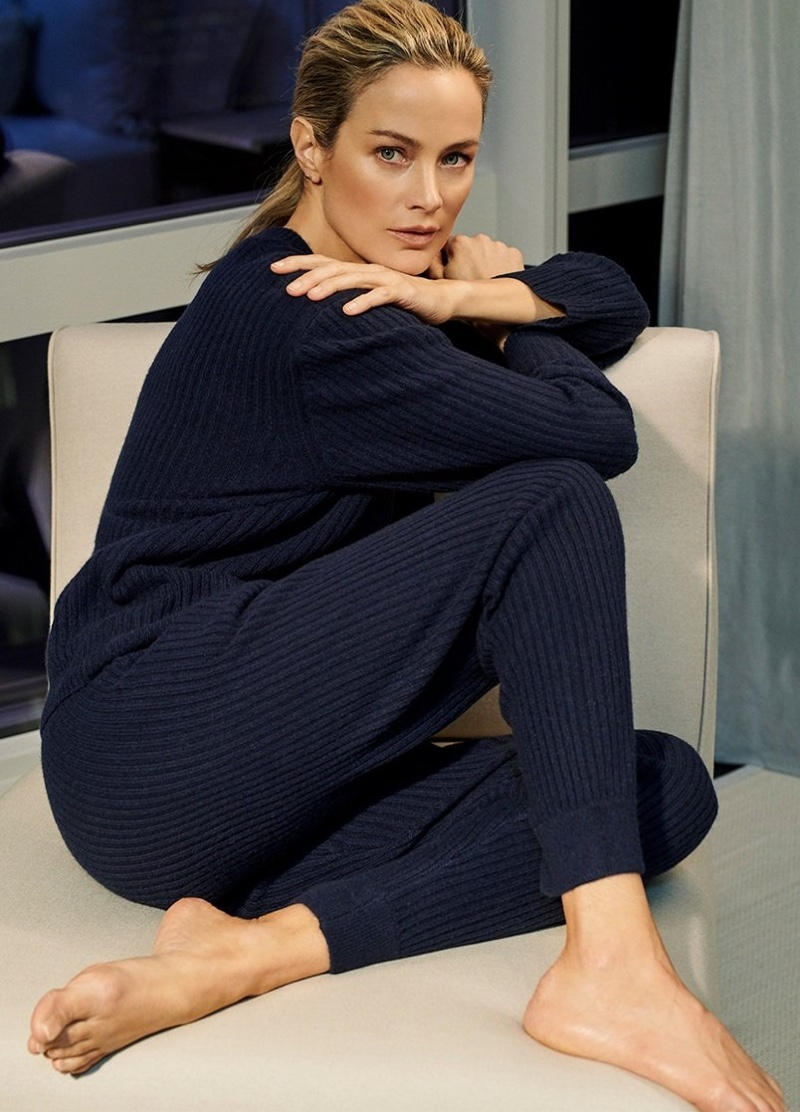 Dressed in Navy, Carolyn Murphy fronts NakedCashmere spring-summer 2019 campaign