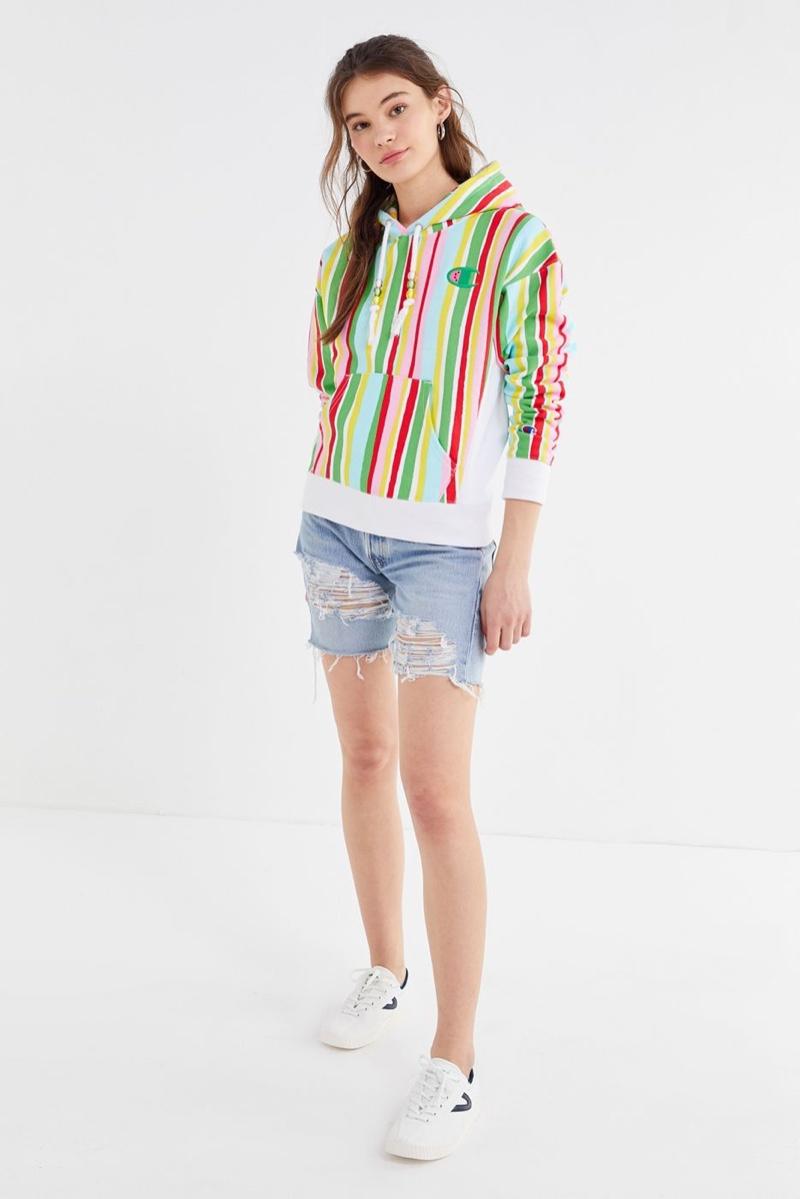 Champion x Susan Alexandra Reverse Weave Striped Hoodie Sweatshirt $79