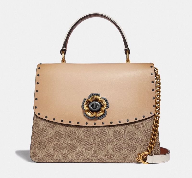 Coach Parker Top Handle Bag in Signature Canvas with Rivets $395