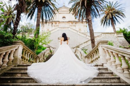 Destination Wedding Dress Bride Stairs