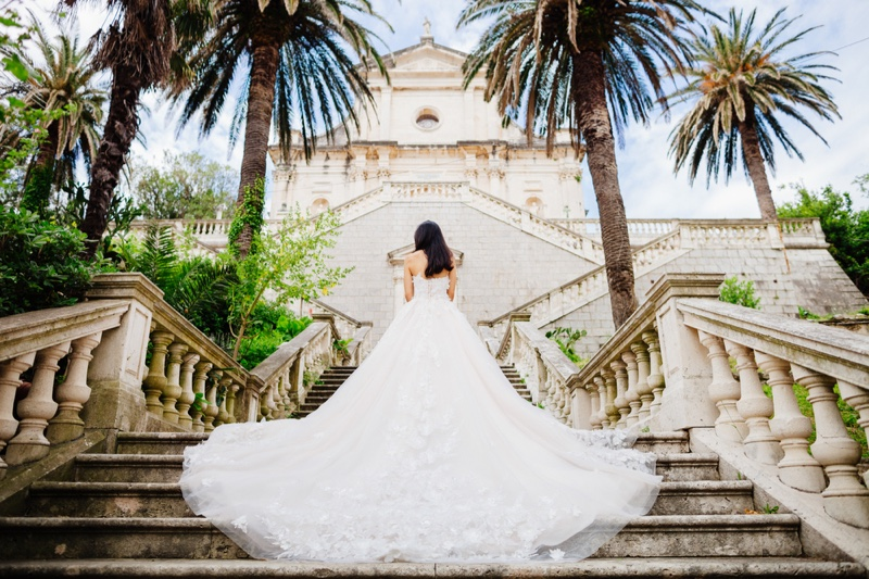 Destination Wedding Dress Bride Stairs