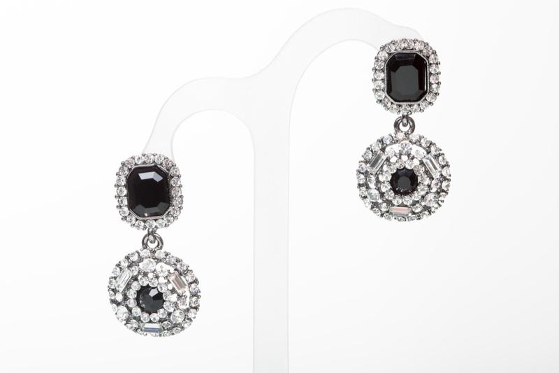 Diamond Earrings with Black Stone Jewelry