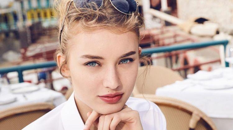 Giulia Maenza on set of Dolce & Gabbana Light Blue Sun fragrance shoot