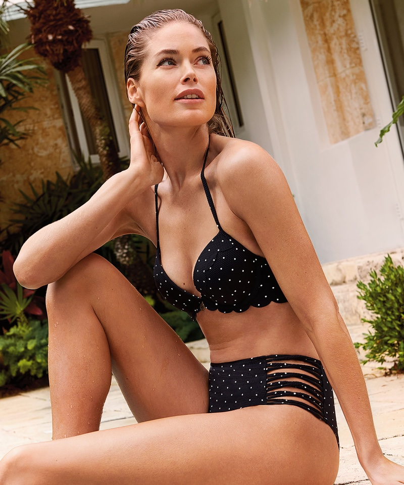 Flaunting her bikini body, Doutzen Kroes poses in Hunkemoller swimsuit collaboration