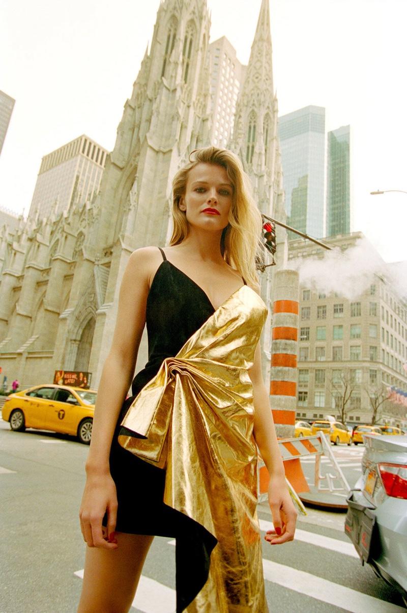 Posing in New York City, Edita Vilkeviciute wears Gucci dress