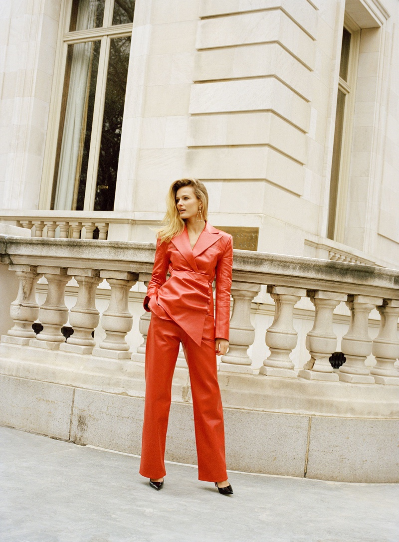 Suiting up, Edita Vilkeviciute poses in Materiel jacket and pants