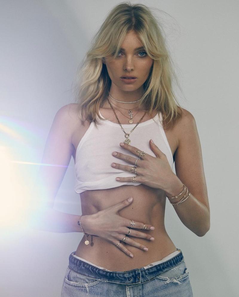 Flaunting her figure, Elsa Hosk models Logan Hollowell jewelry