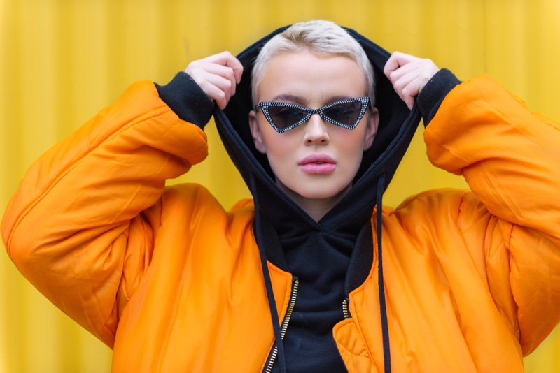 Fashion Influencer Orange Jacket Trendy Sunglasses Hoodie
