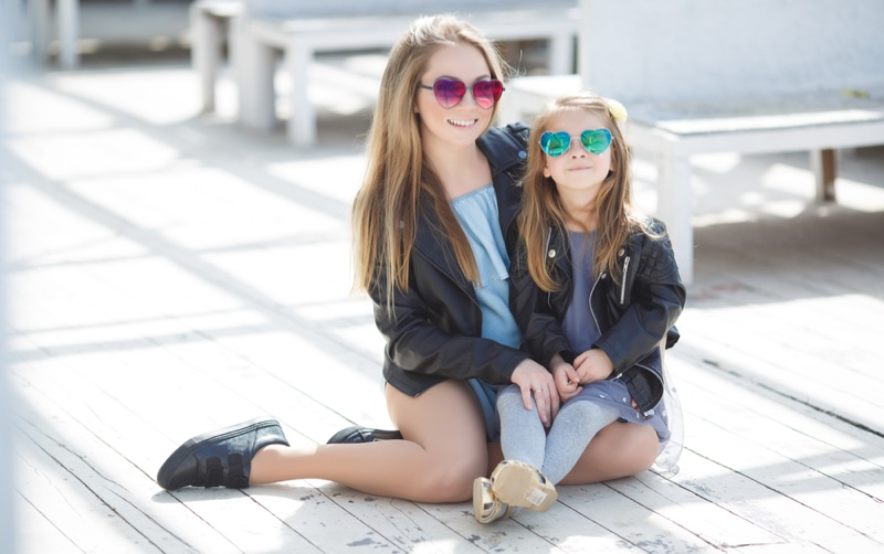 Fashionable Mother Daughter Leather Jackets Sunglasses