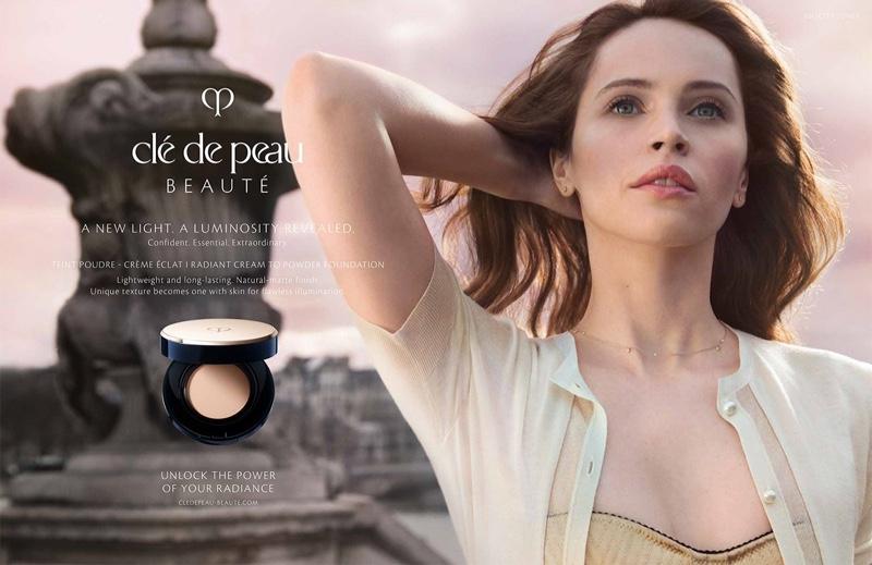 Felicity Jones shows off her flawless skin in Clé de Peau Beauté campaign