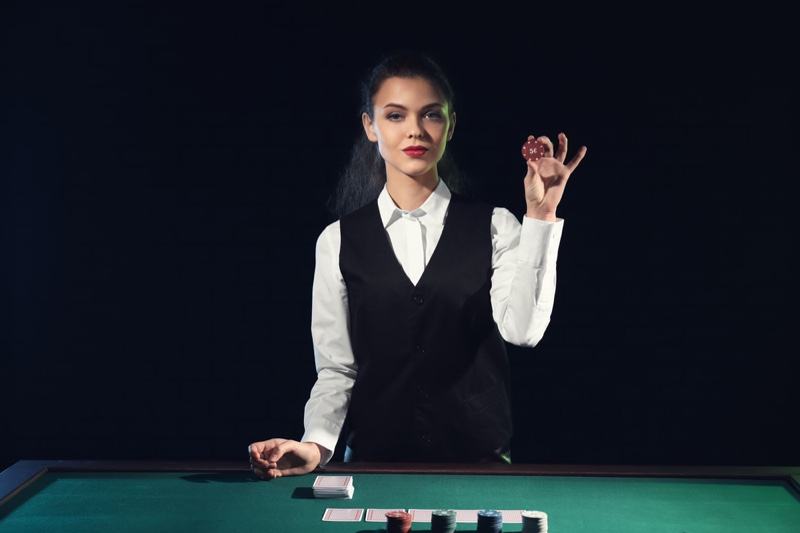 Attractive Female Casino Dealer Outfit Vest
