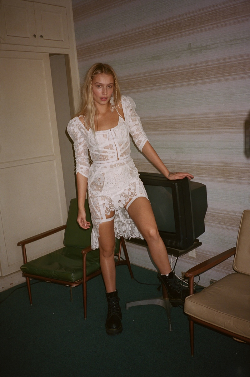 Cailin Russo poses in For Love & Lemons Dunes two piece dress