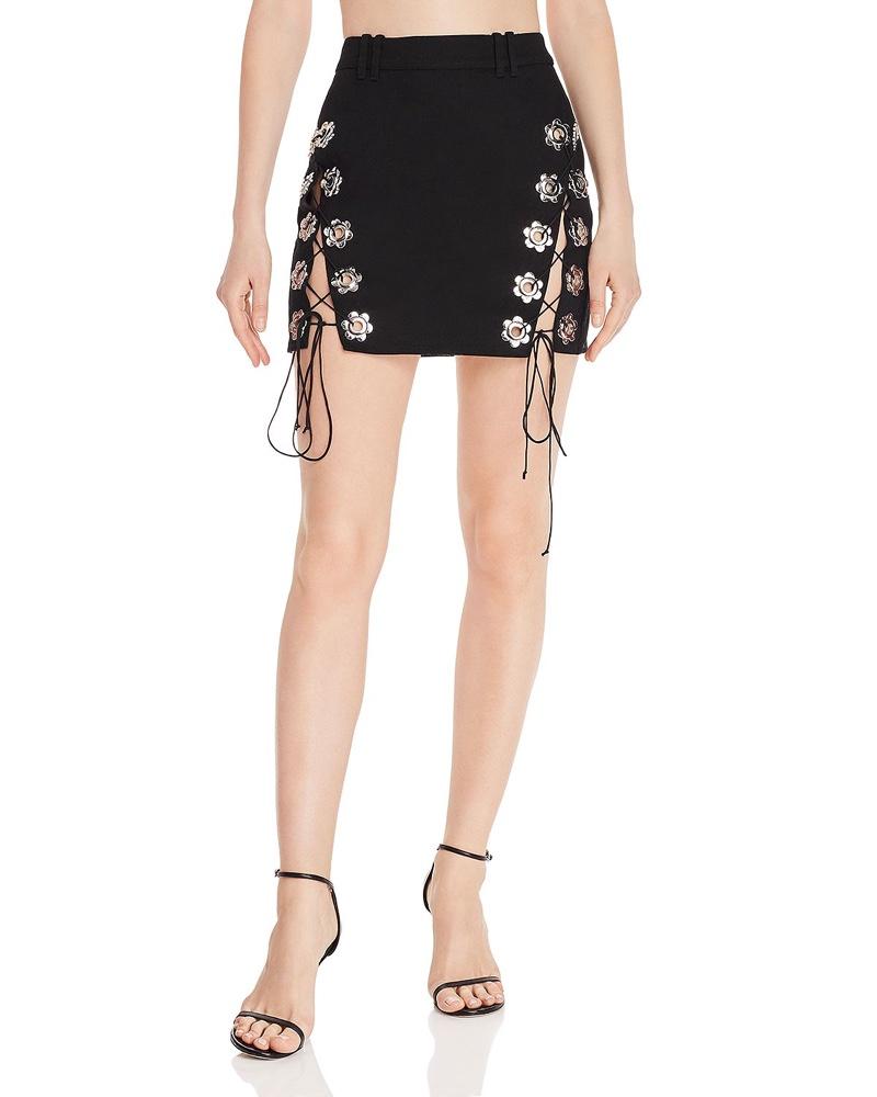 For Love & Lemons Parker Lace-Up Mini Skirt $194