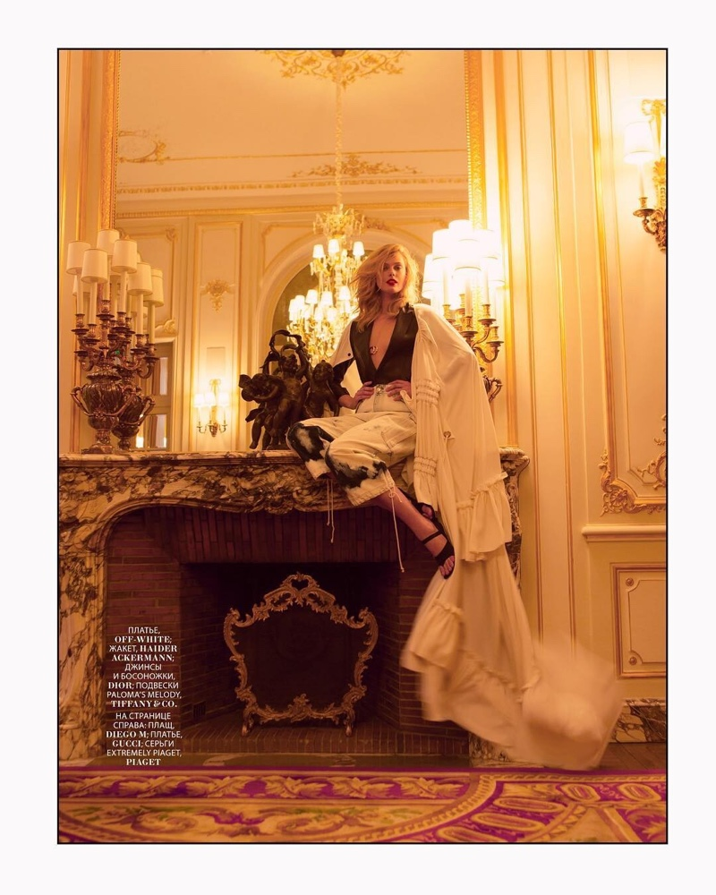 Frida Gustavsson Poses at the Ritz Paris for Marie Claire Russia