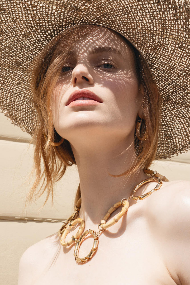 Earrings Laura Lombardi, Necklace Rosantica and Hat Lack of Color Hats. Photo: Jeff Tse