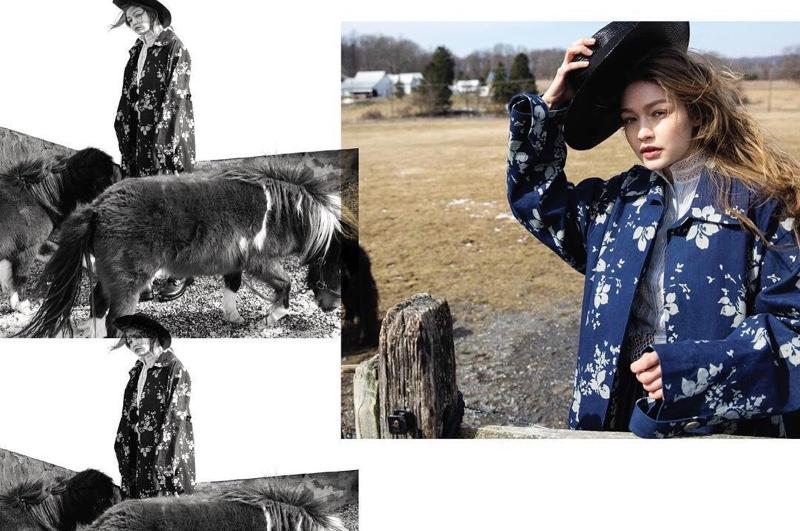 Gigi Hadid Models Farm Fashions for Vogue Czechoslovakia
