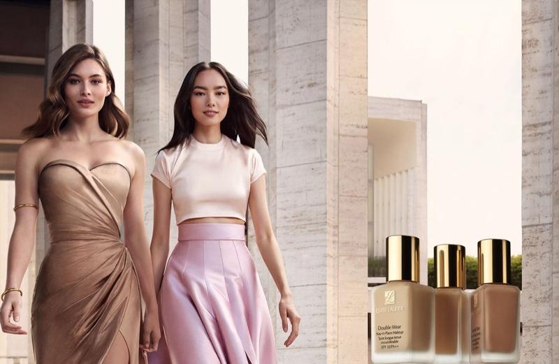 Estee Lauder ambassadors Grace Elizabeth and Fei Fei Sun front Double Wear foundation campaign