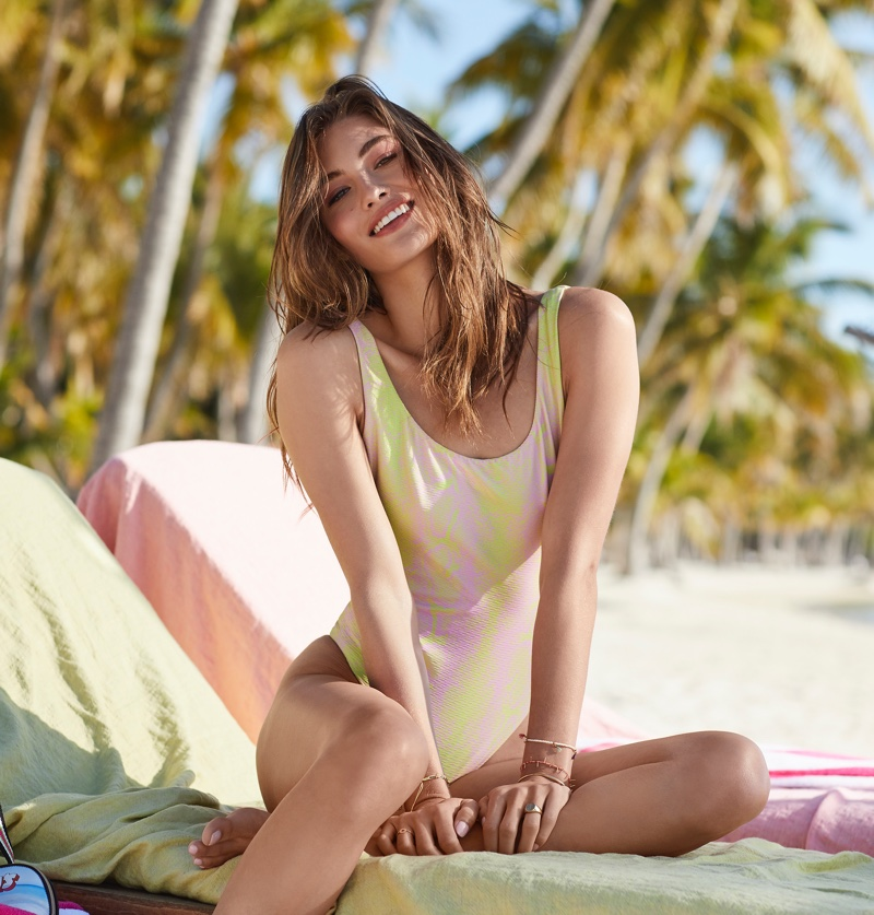 Grace Elizabeth wears high leg swimsuit from Victoria's Secret. Photo: Victoria's Secret