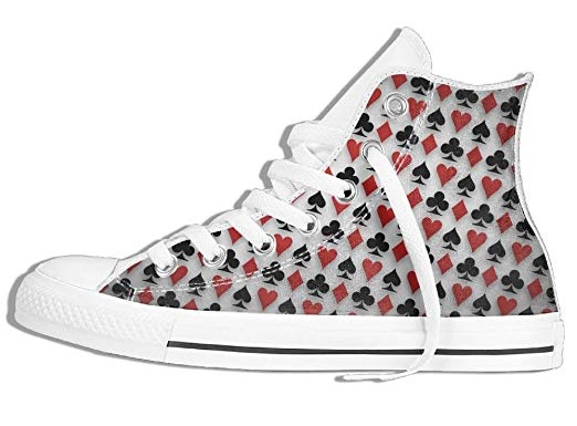 HDMEI Unisex Hi-Top Sneakers Spades Hearts