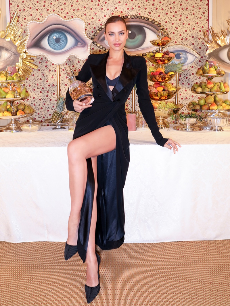 Irina Shayk poses at Jean Paul Gaultier Scandal Banquet event in Paris.