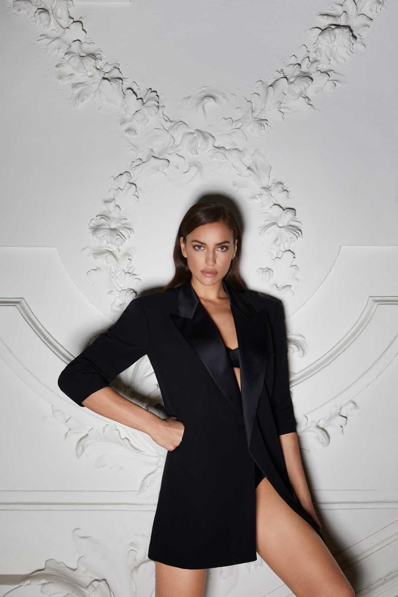 Clad in black, Irina Shayk wears Jean Paul Gaultier design