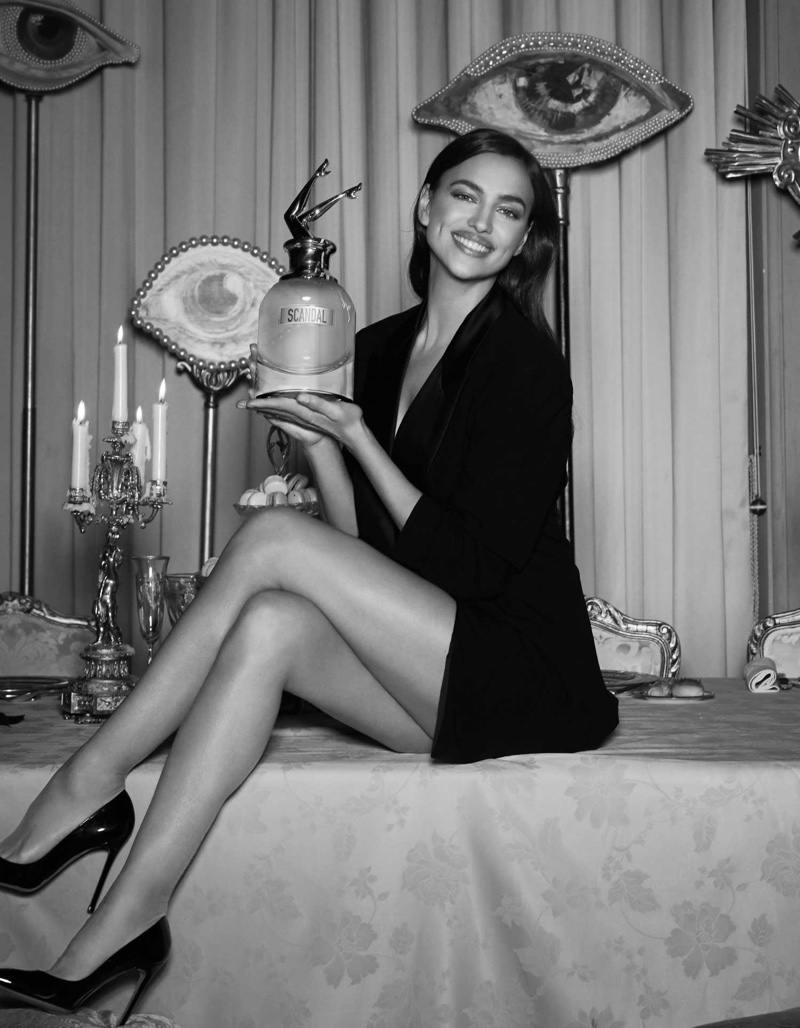 Captured in black and white, Irina Shayk wears Jean Paul Gaultier design