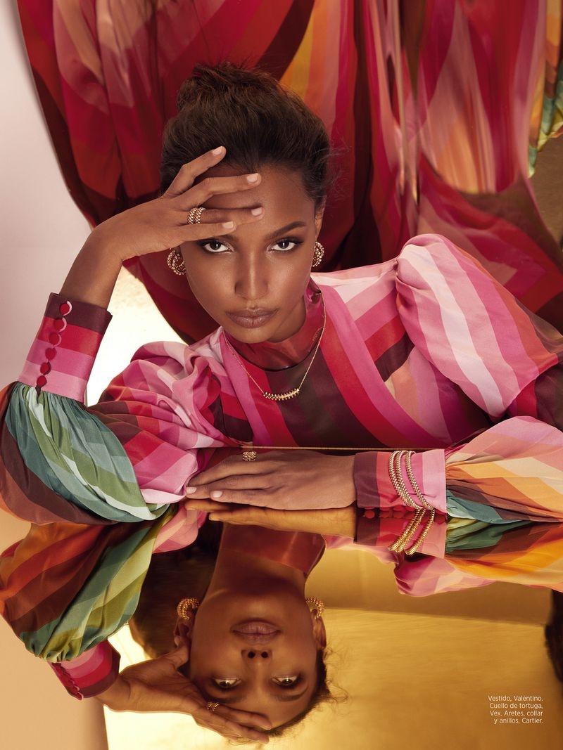 Jasmine Tookes Models Statement Styles in Harper's Bazaar Mexico