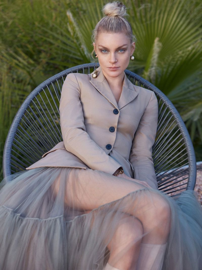 Jessica Stam Poses in Neutral Styles for Harper's Bazaar Serbia
