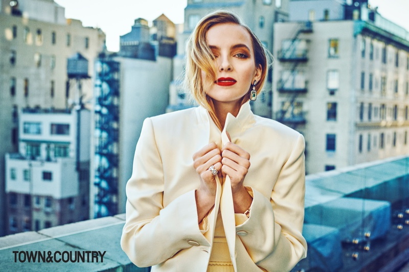 Actress Jodie Comer wears Giorgio Armani jacket, Dior dress and Nikos Koulis earrings