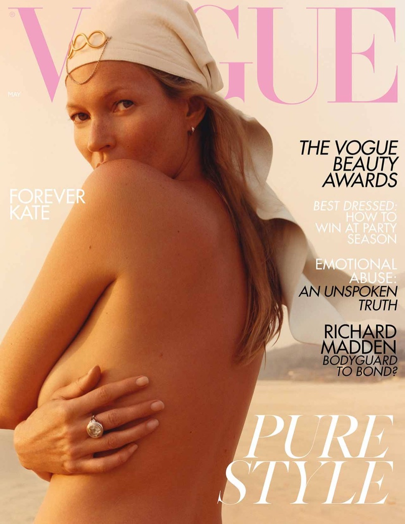 Supermodel Kate Moss on Vogue UK May 2019 Cover. Photo: Jamie Hawkesworth