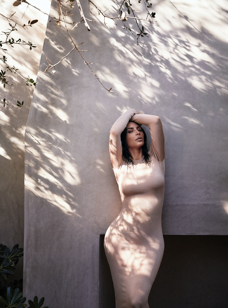 Striking a pose, Kim Kardashian wears Brandon Maxwell dress