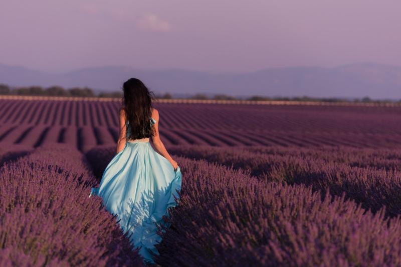 Lavender Field Model in Blue Dress