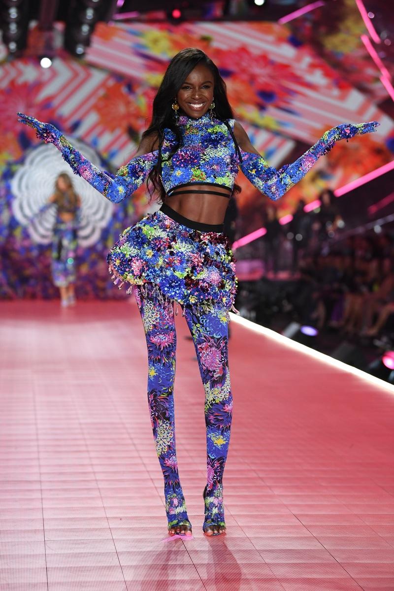Model Leomie Anderson on the Victoria's Secret Fashion Show 2018 runway in New York. Photo: Victoria's Secret