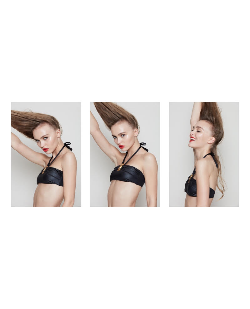 Actress Lily-Rose Depp wears leather bra top