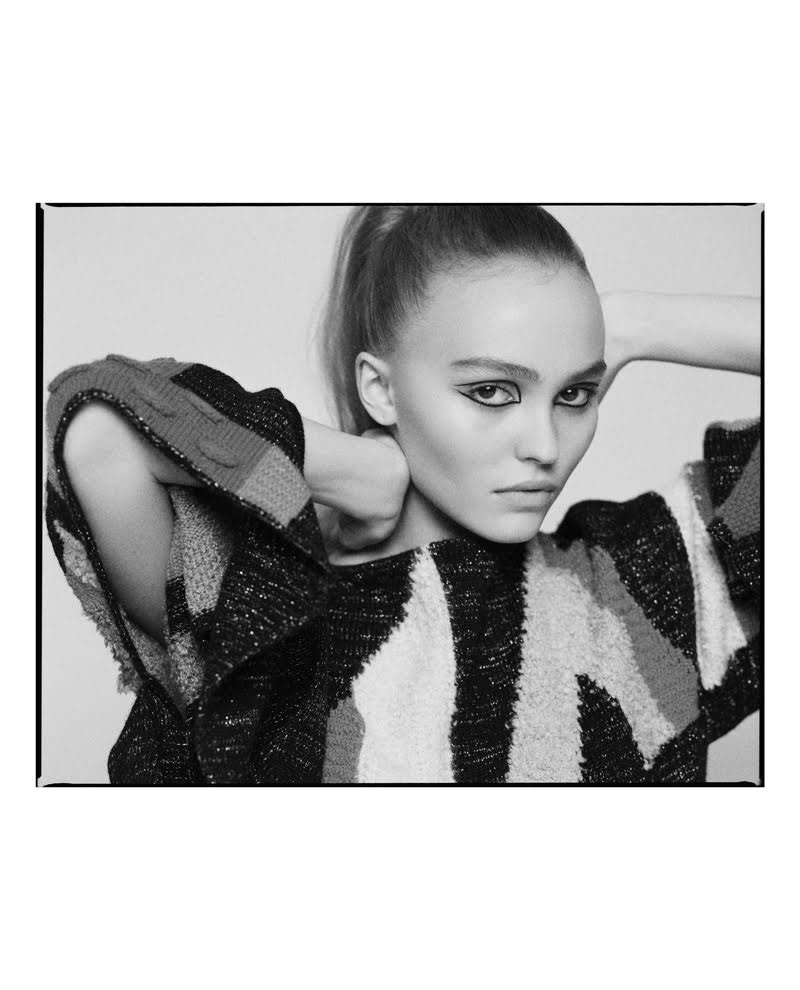 Captured in black and white, Lily-Rose Depp poses for Glamour Paris