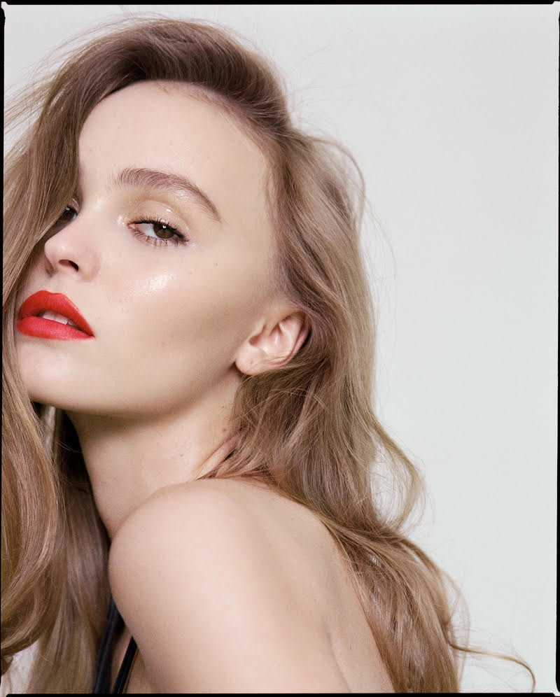 Lily-Rose Depp wears a red lipstick shade