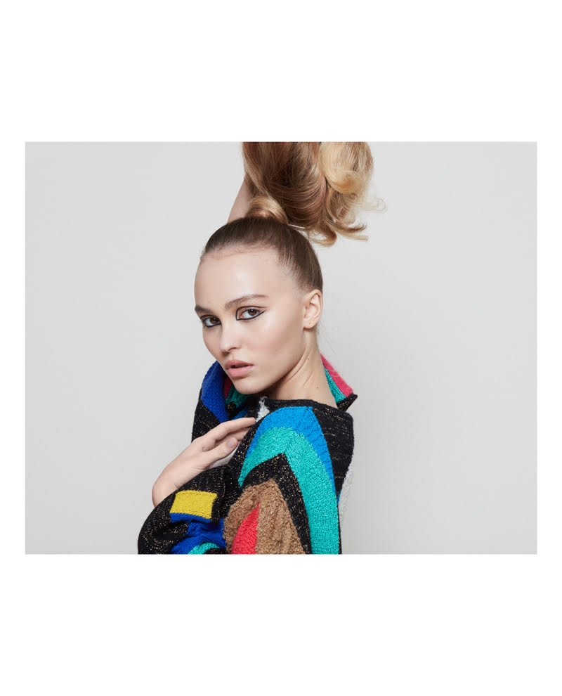 Lily-Rose Depp wears patchwork Chanel sweater