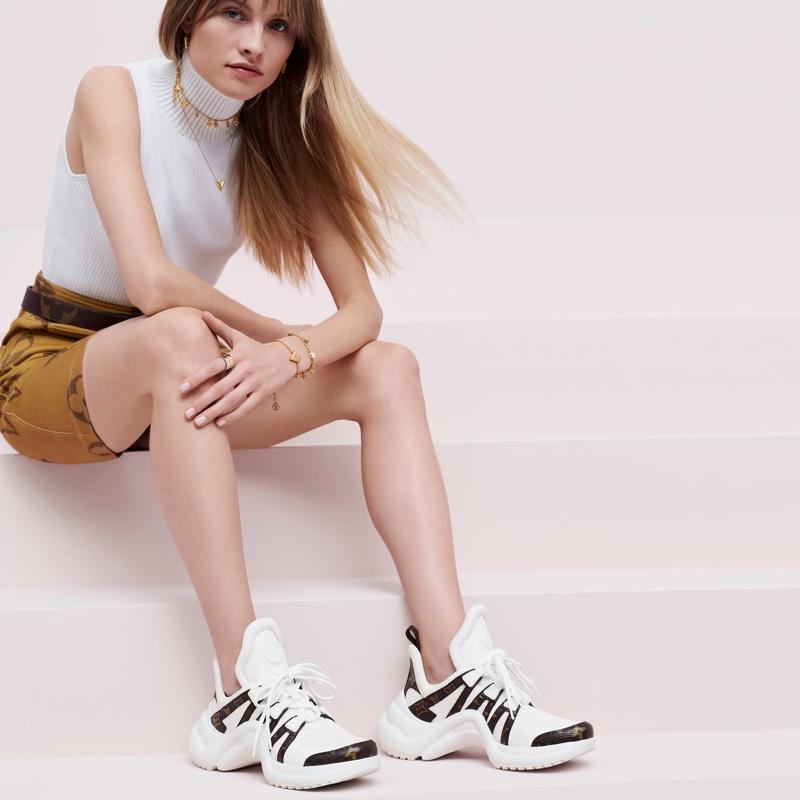 Model Klara Kristin appears in Louis Vuitton Monogram Giant campaign