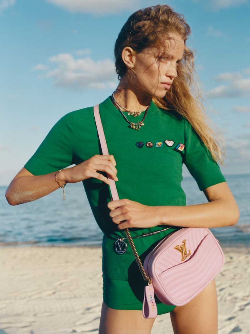 Rebecca Leigh Longendyke  poses on the beach for Louis Vuitton summer 2019 campaign