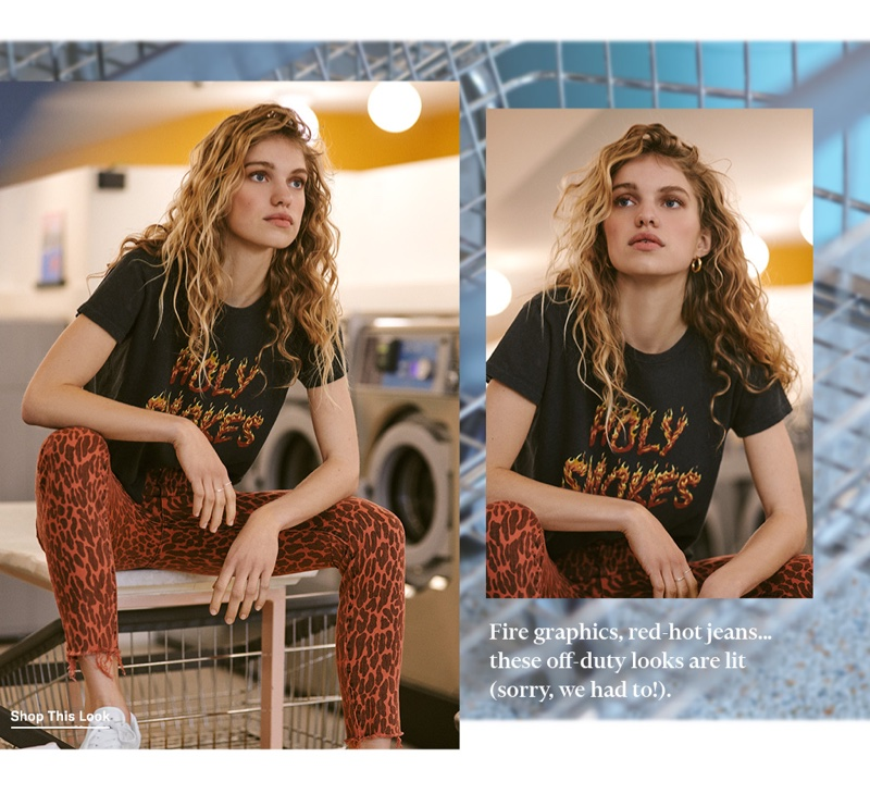 MOTHER The Sinful Tee $105 and High-Waisted Looker Ankle Fray Jeans $208
