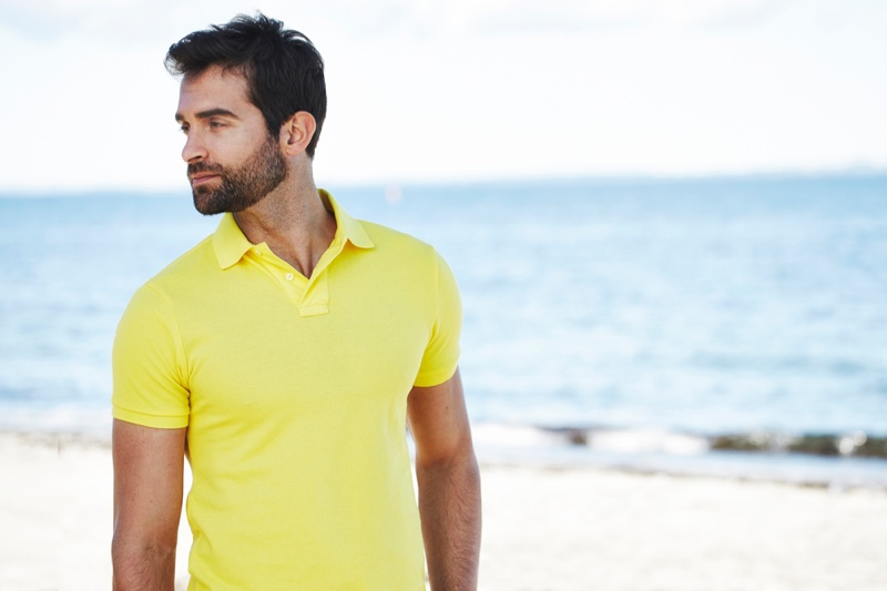 Male Model Yellow Polo Shirt Beach