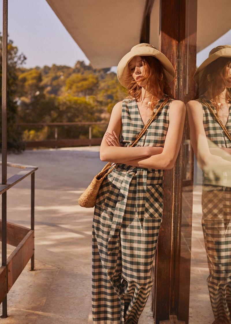 Julia Hafstrom wears Mango gingham check jumpsuit