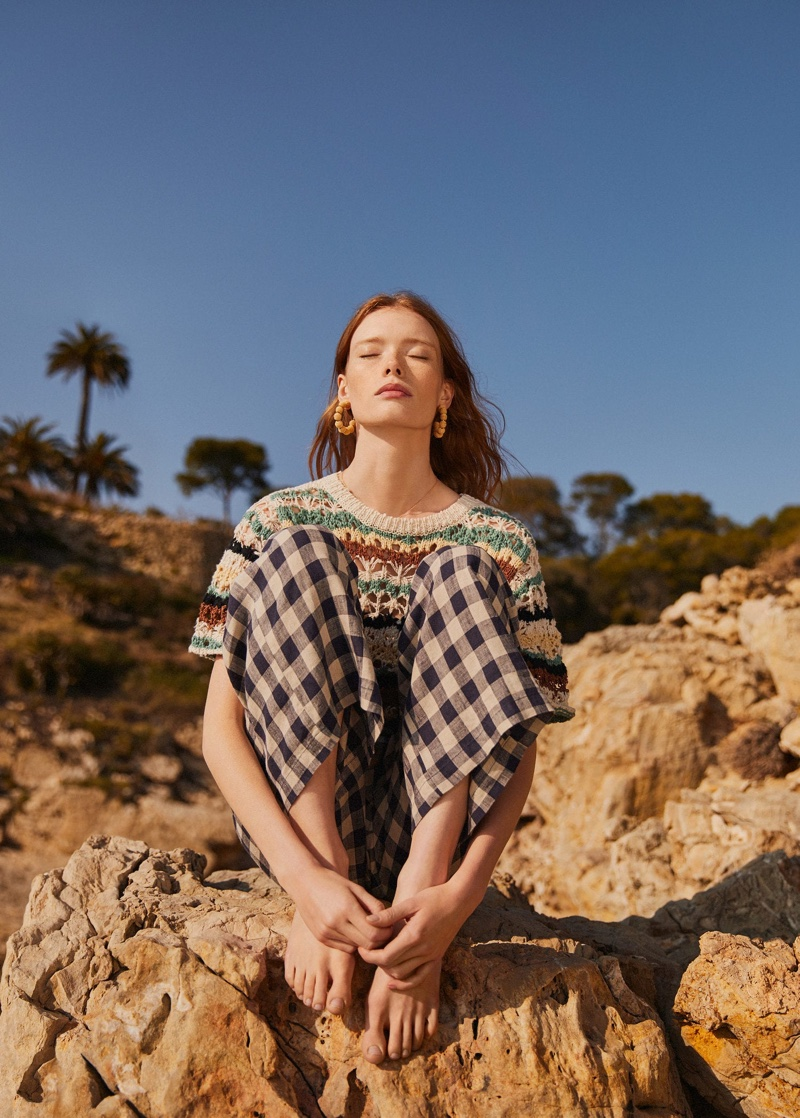 Model Julia Hafstrom poses in mixed prints from Mango