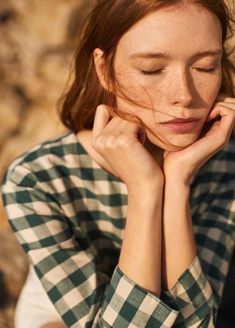 Julia Hafstrom models gingham prints from Mango