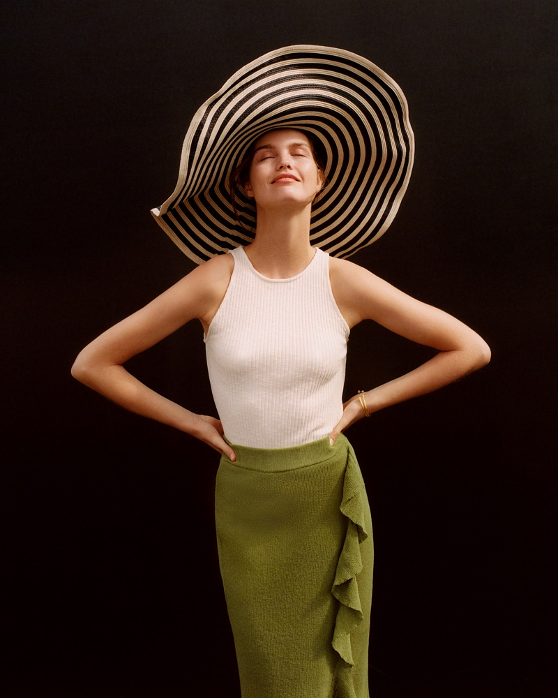 Mango Top, Midi Wrap Skirt and Bicolor Straw Hat